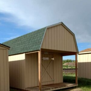 Loft Style Wood Storage Sheds With a 4 ft. Deck on Front's feature image